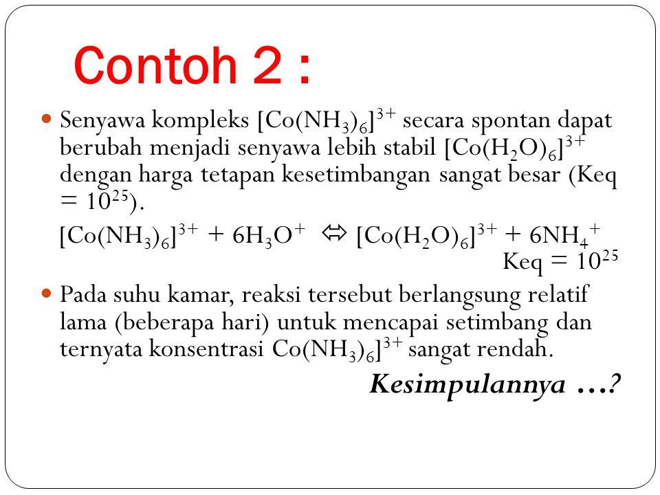 [Co(NH3)6]3+ + 6H3O+  [Co(H2O)6]3+ + 6NH4+ Keq = 1025